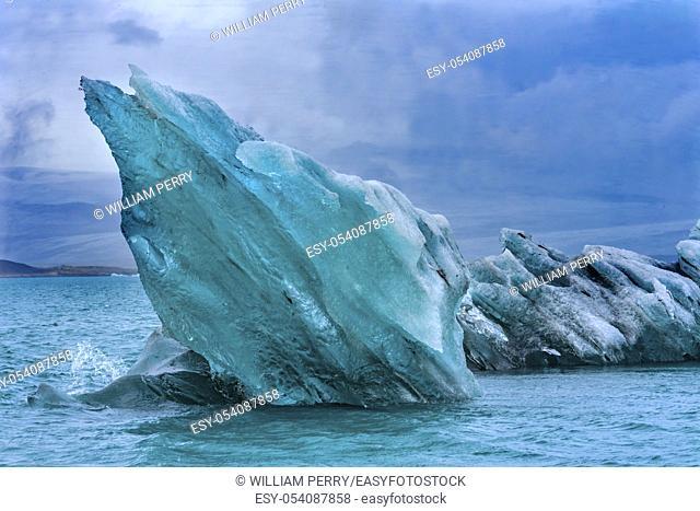 Blue Large Iceberg Diamond Beach Jokulsarlon Glacier Lagoon Vatnajokull National Park Iceland. Ice from Breioamkurjokull Glacier