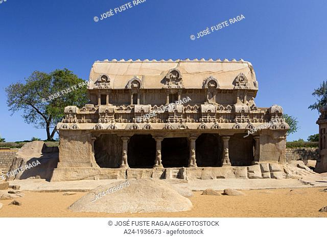 India , Tamiol Nadu State , Mamallapuram City, Five Rathas, Pancha Rathas , Temple , (W.H.)