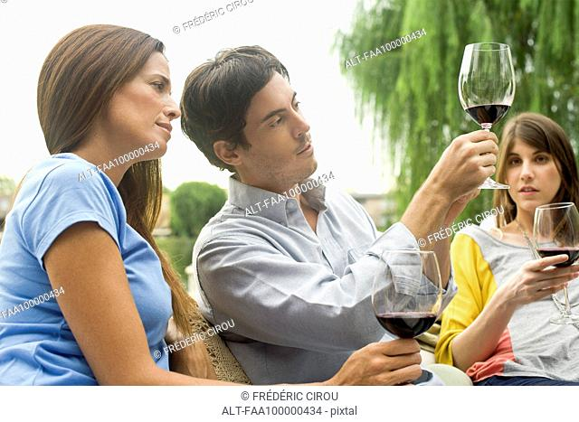 Man explaining wine complexity to friends