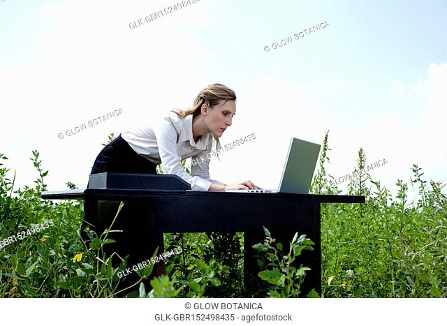 Businesswoman working on a laptop in a field