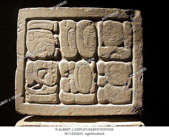 Glyphs from Palenque, Maya archeological site (600 - 800 A.D.). Chiapas, Mexico