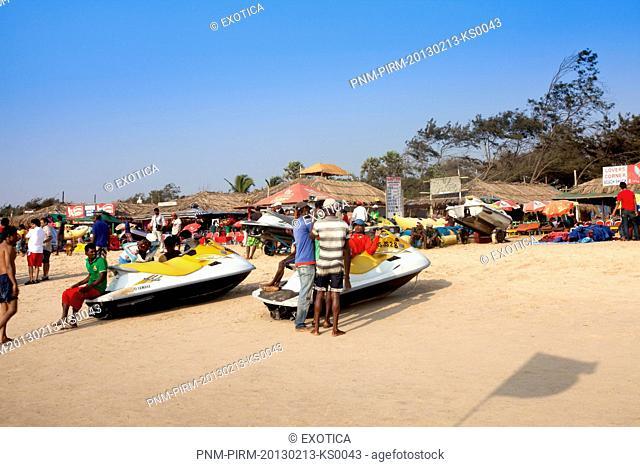 Tourists on the beach, Calangute Beach, Calangute, North Goa, Goa, India