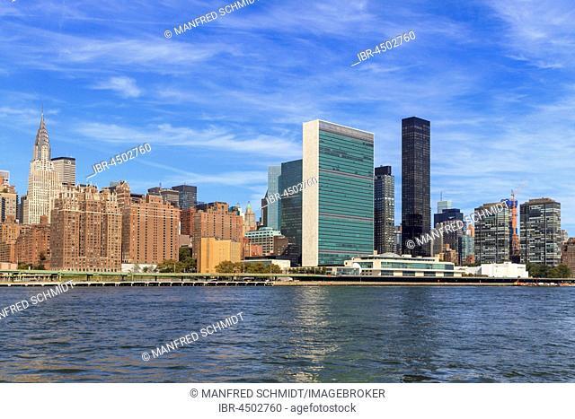 United Nations Headquarters, East River, Manhattan, New York City, New York, USA