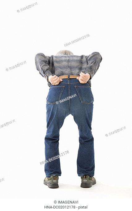 Senior man with backache