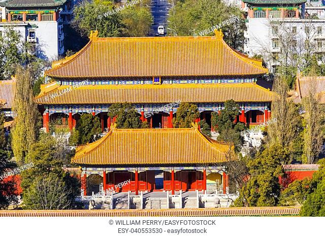 Many Red Orange Pavilions Jingshan Park Looking NorthBeijing, China. Part of the Forbidden City, created in the 1100s