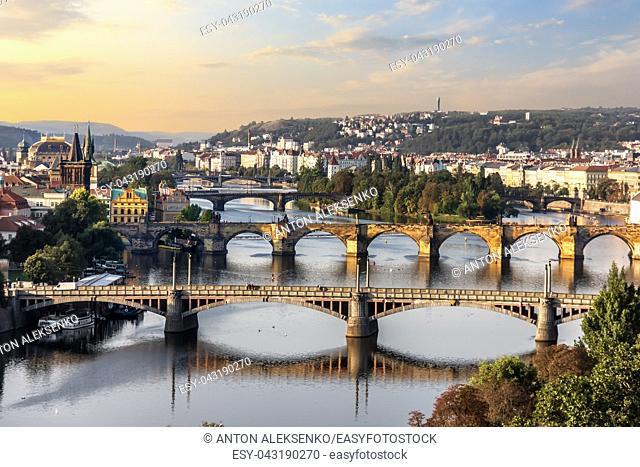 Charles bridge and other bridges in Prague, aerial view