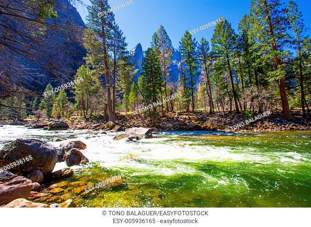 Yosemite National Park Merced River in spring California USA