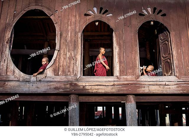 Novice Buddhist monks at the Shwe Yan Pyay Monastery in Nyaungshwe, Myanmar