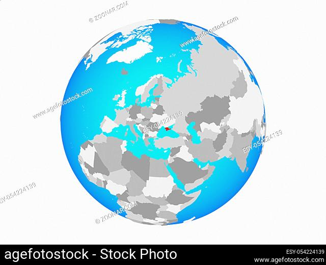Crimea on blue political globe. 3D illustration isolated on white background