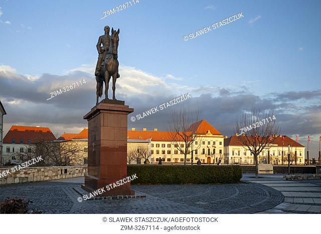 Sunset at Artur Gorgey statue in the Castle District of Budapest, Hungary