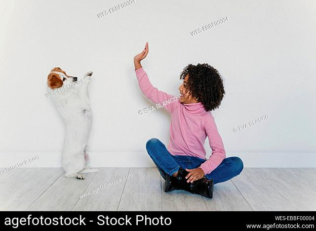 Smiling little girl sitting on the floor with her dog