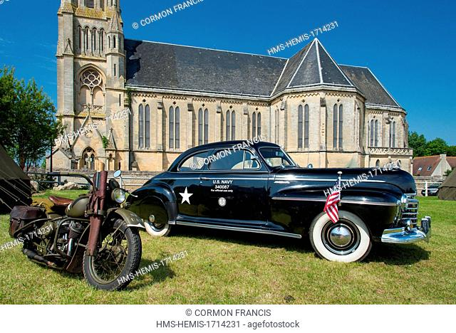 France, Calvados, Saint Aubin sur Mer, commemoration of the June 6 1944, 69th anniversary, camp extras, car reserved for the Navy officiated