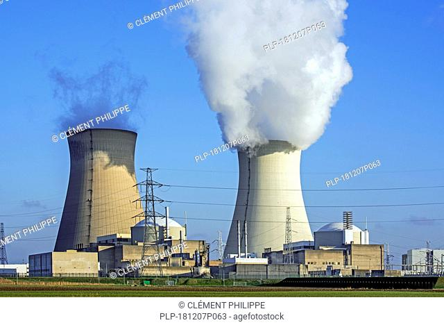 Cooling towers of the Doel Nuclear Power Station / nuclear power plant in the Antwerp harbour, Flanders, Belgium