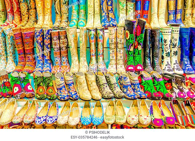 Authentic, shoes oriental store in Grand Bazaar, Istanbul, Turkey