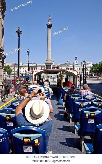 Open Top London Tour Bus Approaching Trafalgar Square, London, England