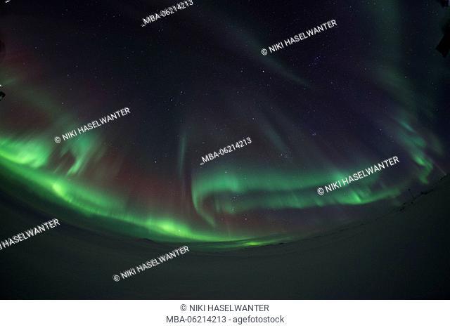Northern Lights through fisheye, Iceland