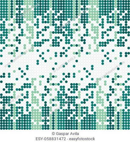 Columns of tiny circles forming a gradient on a white background. Algorithmic pattern in green tones
