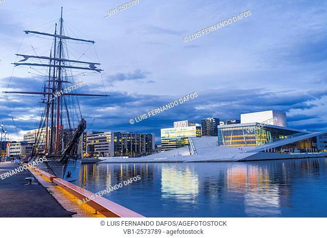 Oslo Opera Hall and sailboat at dusk, Norway