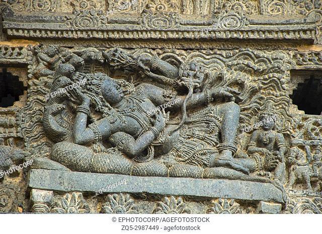 Lord Vishnu sleeping on snake. Chennakeshava temple complex, Belur, Karnataka, India