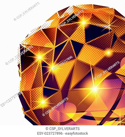 Plastic pixilated backdrop with glossy 3d cybernetic object, ref