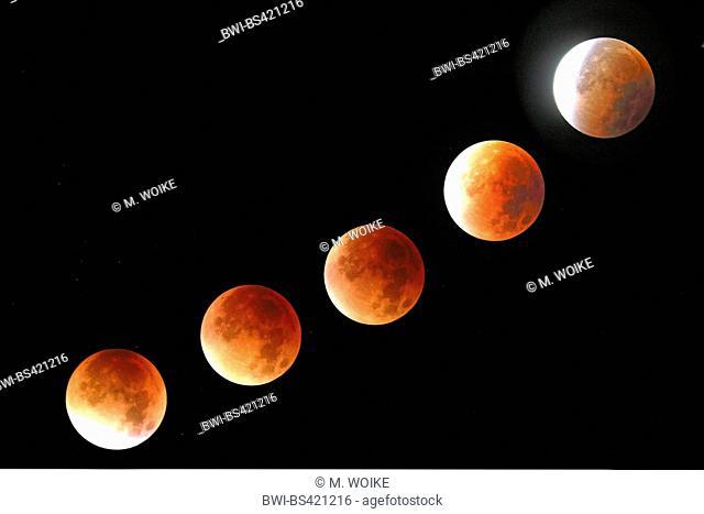 lunar eclipse at 28.09.2015 between 4.19 til 5.35 timepiece, Germany, North Rhine-Westphalia, Haan