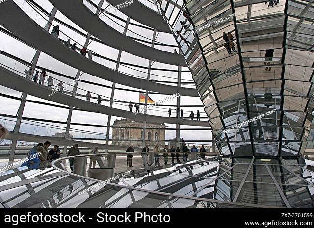 Mirrored cone inside the Reichstag Dome, in the german parlament (Reichstag), Berlin. The current Reichstag dome is an iconic glass dome constructed on top of...