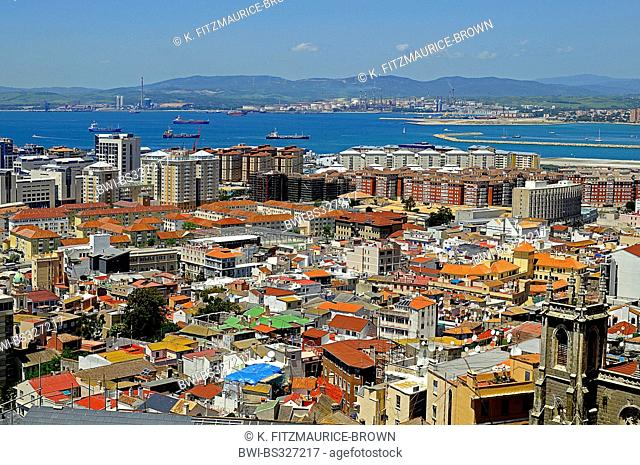 view to the city, the spanish mainland in background, Gibraltar, Gibraltar