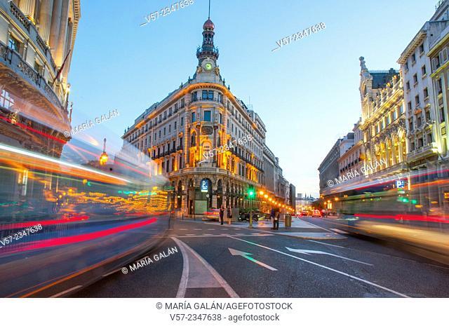 Sevilla street, night view. Madrid, Spain