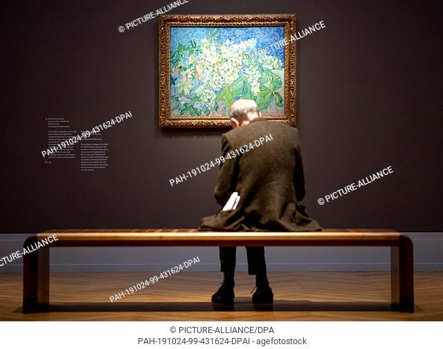 "24 October 2019, Brandenburg, Potsdam: A man sits after a press conference before opening the exhibition """"Van Gogh. Still life"""" in the Museum Barberini in..."