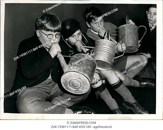 Nov. 11, 1958 - Audition For Boys To 'Play' a Watering Can: An Audition was held last evening to find two schoolboys to blow down the spout of a watering can to...