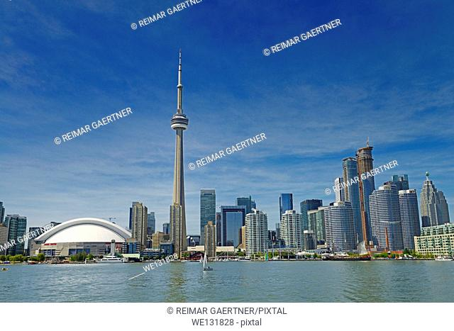 Toronto skyline with CN Tower Rogers Centre condo and financial towers from Lake Ontario