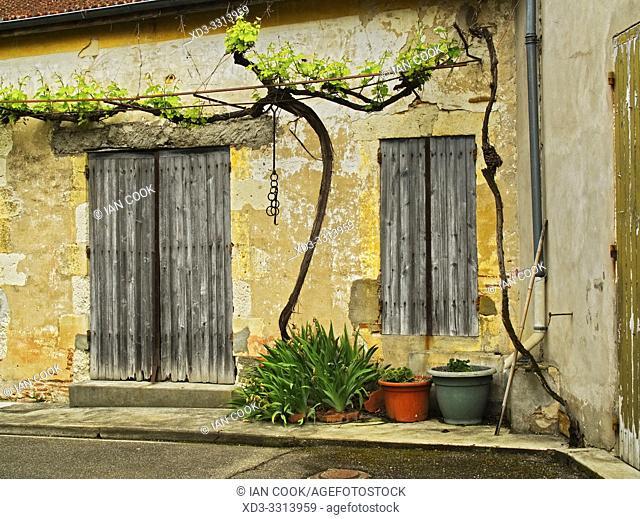 front of a house, Le Temple sur Lot, Lot-et-Garonne Department, Nouvelle Aquitaine, France