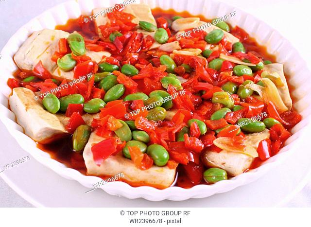 Chop bell pepper edamame steamed dry
