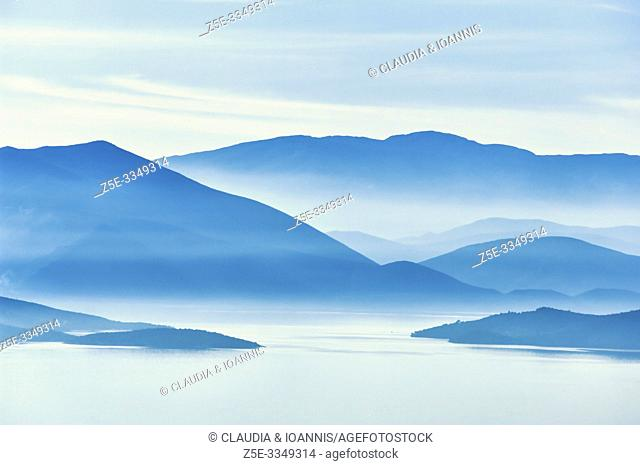 Silhouette of the mountains on the Greek mainland at the Pagasitic Gulf in Thessaly, Greece