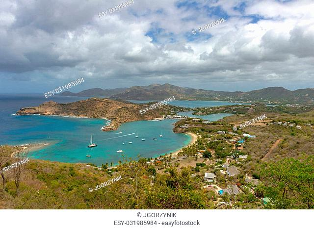 View of English Harbor in Antigua from Shirley Heights