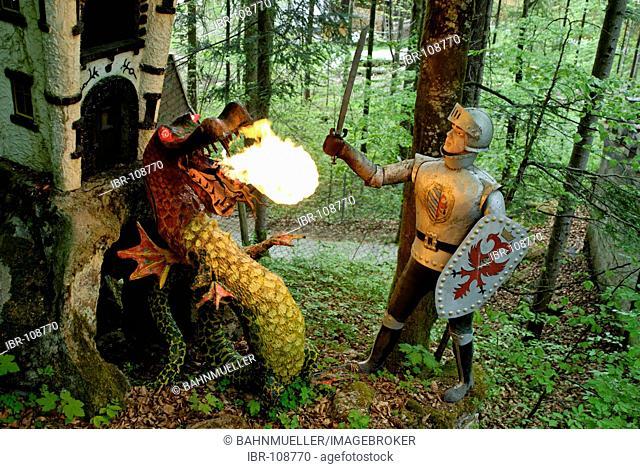 Ruhpolding Freizeitpark Funpark fairytal park Fantasyland Upper Bavaria Germany Siegfried the Dragon fighter