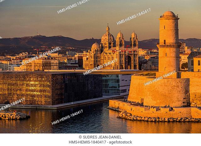 France, Bouches du Rhone, Marseille, MuCEM (Museum of Civilization in Europe and the Mediterranean) by the architect Rudy Ricciotti