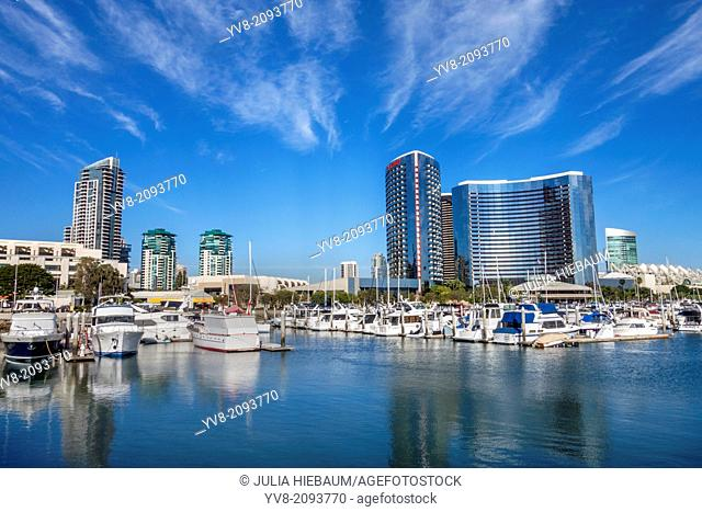 Docked boats in the San Diego bay, California