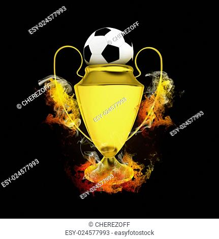 Soccer Cup and ball in colored smoke. Sport concept