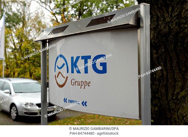A picture dated 13 October 2016 shows a sign with the logo of KTG Agrar SE in Oranienburg, Germany. The business is 394 million Euros in debt