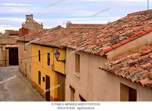 Rooves and church of the Asuncion of Urueña, Valladolid, Spain