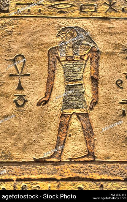 Relief of God Horus, Tomb of Ramses III, KV #11, Valley of the Kings, UNESCO World Heritage Site, Luxor, Egypt