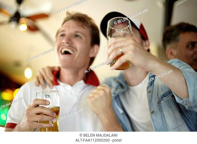 Sports enthusiasts watching match together in bar