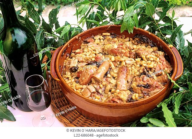 Cassoulet (meat and haricot stew) of Carcassonne. Aude department. Languedoc-Roussillon Region. France