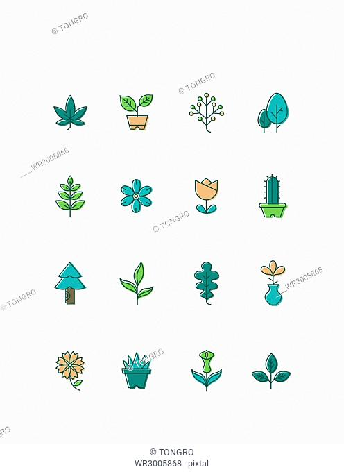 Icon set of flowers, plants and trees