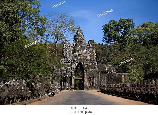 A main gate to the ancient city of Angkor Wat, Northwestern Cambodia