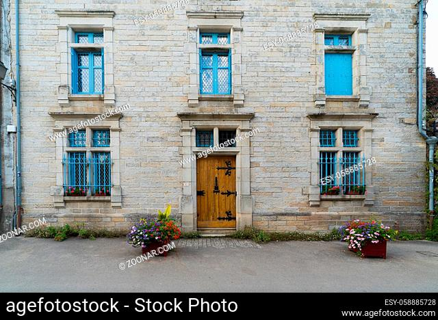 Rochefort-en-Terre, Morbihan / France - 24 August, 2019: detail view of historic architecture and buildings in the picturesque French village of...