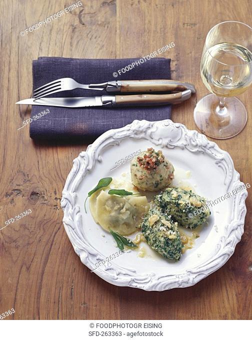 Bacon- & spinach dumplings, Schlutzkrapfen pasta parcels, S  Tyrol