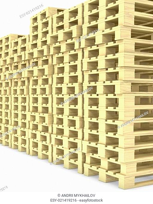 Large group of wooden pallets