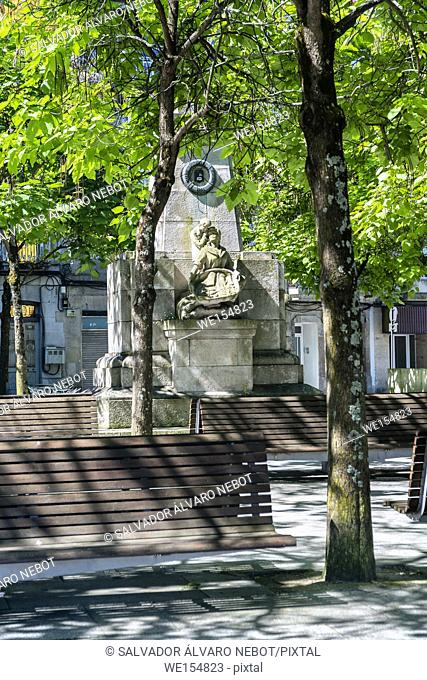 Monument to the unknown fisherman in Plaza Ribera, Vigo, Pontevedra, Galicia, Spain, Europe